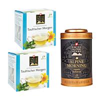 Swiss Alpine Herbs Bio Tee Taufrischer Morgen DUO & Teedose